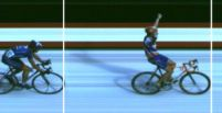Photo finish of Dekker beating Armstrong. Maastricht, the Netherlands, Amstel Gold Race, 2001. Picture courtesy Römers Sports Timing